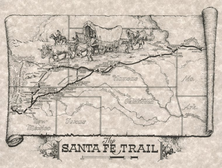 the santa fe trail The santa fe trail was one of the main historical routes that traders (and military parties) took to the southwestern united states from the population centers of the east, as the united states was expanding from its east-coast roots to become the continent-spanning mega-nation that it is now.